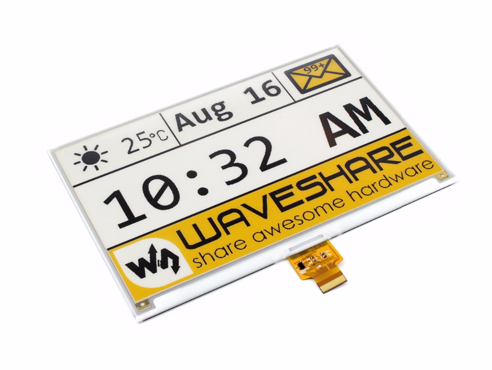 Waveshare 7.5inch E Ink Raw Display Panel No PCB,640x384 E paper,Three color:Yellow Black White SPI Interface,No Backlight-in Demo Board from Computer & Office    1
