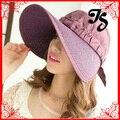 Diseño moda ala ancha exterior sombrero del sol de protección para para verano plegable grande visera visera Cap 7 colores