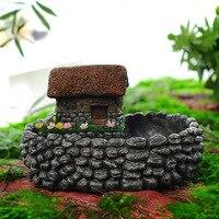 Creative Retro Stone House Flower Pot Personalized Micro Landscape Micro Planter