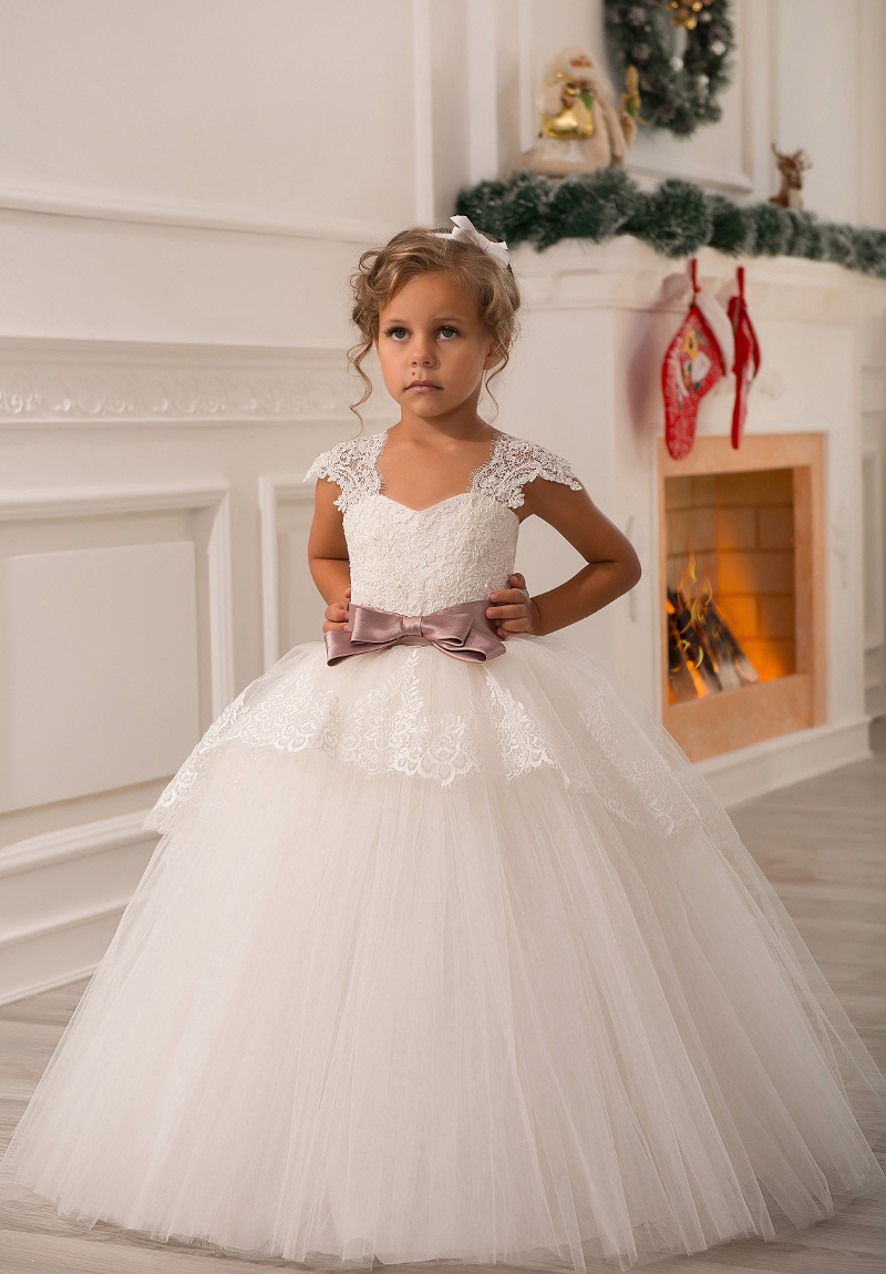 8a9be8789 Vintage Sheer Lace Cap Sleeves v neck with blush pink bow sash Ball Gown  Flower Girl. sku: 32864108822