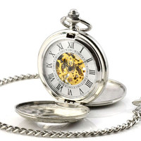 Retro Skeleton Automatic Hollow Mechanical Pocket Watch Men Vintage Hand Wind Clock Necklace Pocket & Fob Watches With Chain