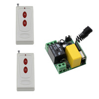 AC 220 V 1CH RF Wireless Remote Control Switch System Receiver Transmitter 2 Buttons 2PCS Controller