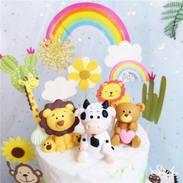 Adornos para la parte superior de una tarta de fiesta decoración del Día de los niños Rana Panda león Ins adornos de feliz cumpleaños hornear dulces regalos