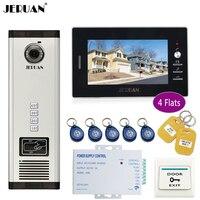 JERUAN 7 Inch LCD Monitor 700TVL Camera Apartment Video Door Phone 4 Kit Access Control Home