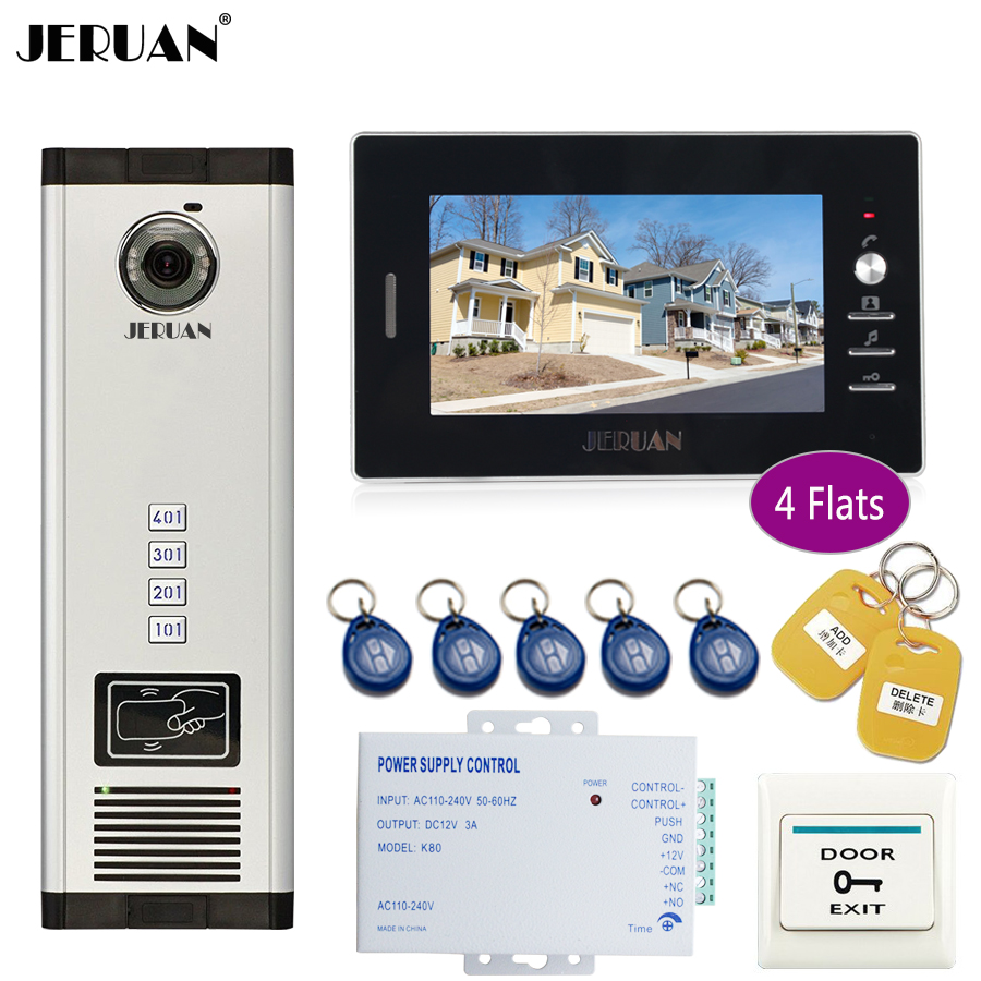 JERUAN 7 inch LCD Monitor 700TVL Camera Apartment video door phone 4 kit+Access Control Home Security Kit jeruan 7 inch lcd monitor 2 sets of 700tvl camera apartment video door phone 4 sets access control home security suite
