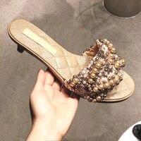 Women FlatSlipper round peep toe women Pearls Flat Slippers Outdoor Mules Flip Flop Beads Slides Beach Shoes Woman Sandalet