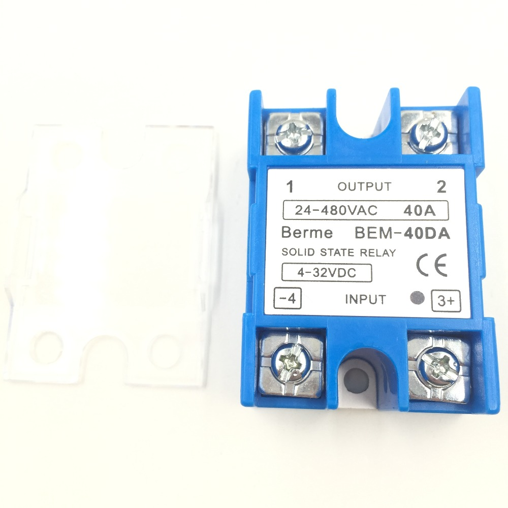 Berme Original New Solid State Relay Ssr Module 3 32v Dc To Ac With German Plastic Cover Case 40da 40a 24v 380v 250v Wholesale In Relays From Home