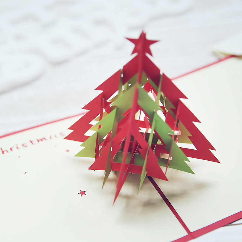 Handmade Christmas DIY Christmas tree Christmas gift cards three-dimensional paper art 3D happy New Year holiday cards 15cm 1box lot christmas gift christmas season organ folding christmas cards paper crafts scrapbooking cards gifts decoraiton