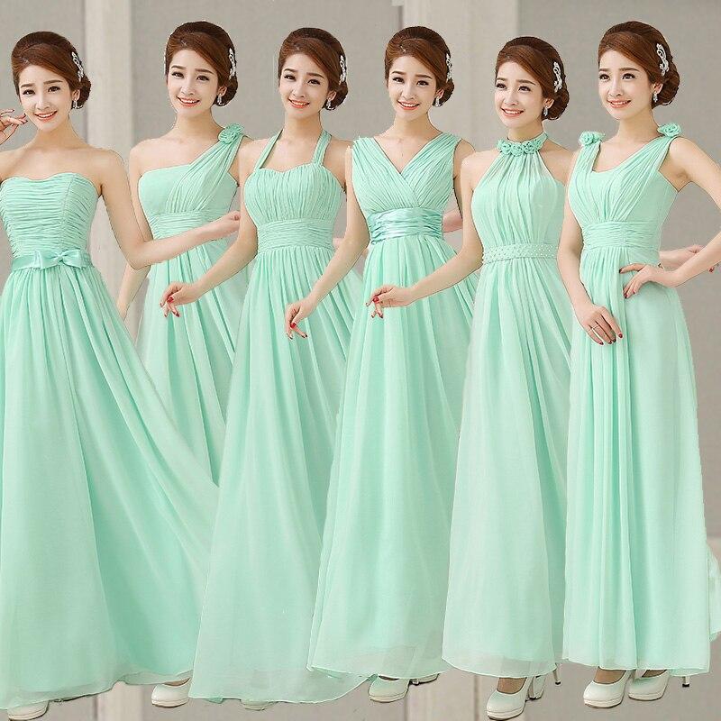 Mint Green Bridesmaid Dress Royal Blue Pink Party Dresses Chiffon ...