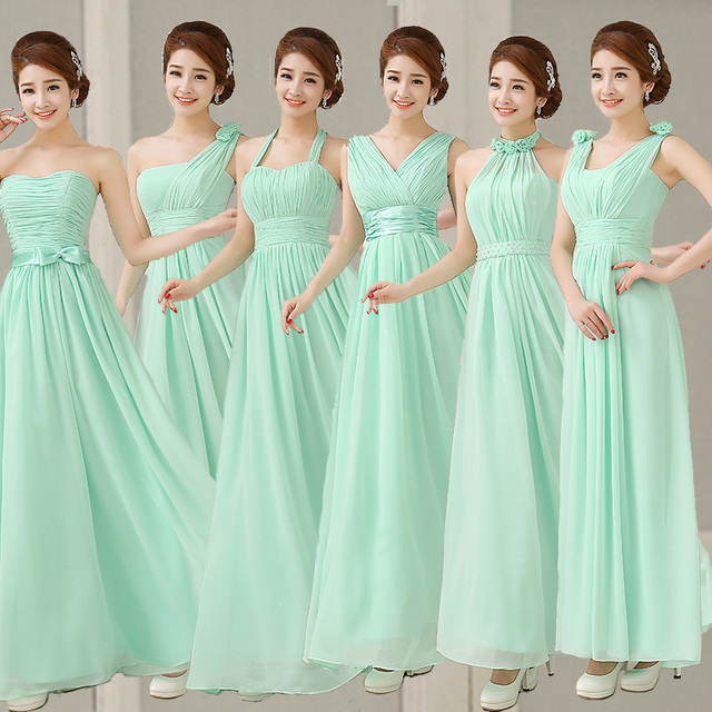 fc7cfa6ea36 Mint Green Bridesmaid Dresses Chiffon To Party Long Formal Dresses Lilac  Champagne Prom Dresses Under  50 Vestidos Dama De Honor