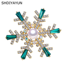 SHDIYAYUN 2019 New Pearl Brooch Natural Freshwater Rinestone Snowflake Simple Pins for Women Jewelry Gift