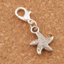 Dancing Flake Star Starfish Sea Lobster Clasps Charm Beads 12.7x29.5mm 23PCS Antique Silver C123