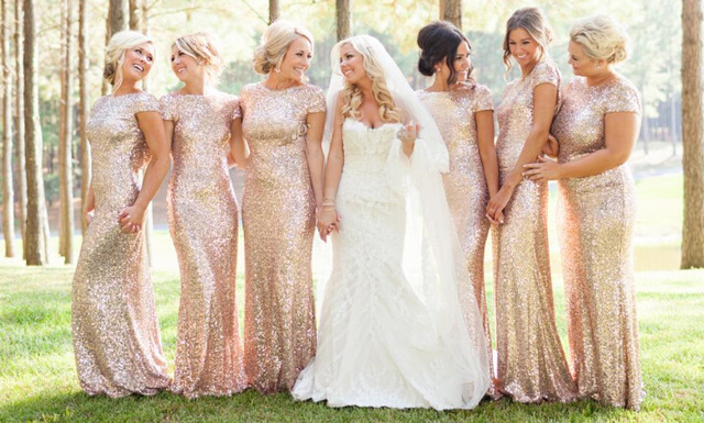 2016 Short Sleeve Mermaid Bridesmaid Dresses Sequins Backless Long Beach  Wedding Party Gowns Gold Champagne