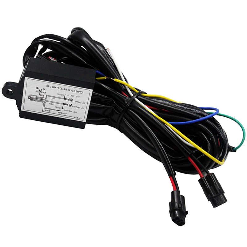 SUNKIA רכב LED בשעות היום ריצה קל DRL בקר לרתום ממסר אוטומטי דימר על/Off 12-18 V Strobe פונקצית עמעום