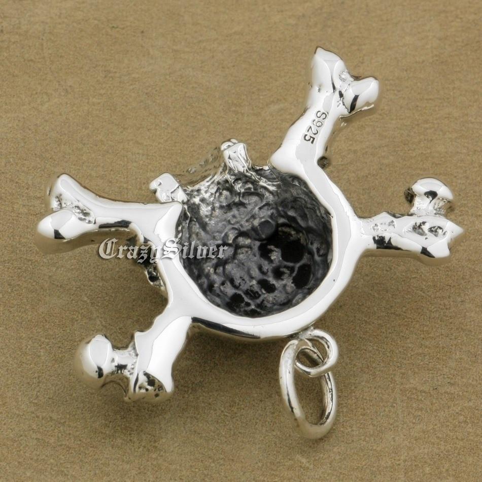 Image 4 - 925 Sterling Silver CZ Eyes Skull Cross Bone Mens Biker Rocker  Punk Pendant 9V024 Just Pendantpendant solitairependant  jewellerypendant bail