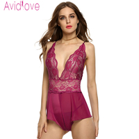 Avidlove Sexy Lingerie Erotic Hot Women Babydoll Sleepwear Lace Nightgown Female Mesh See Through Lingerie Open