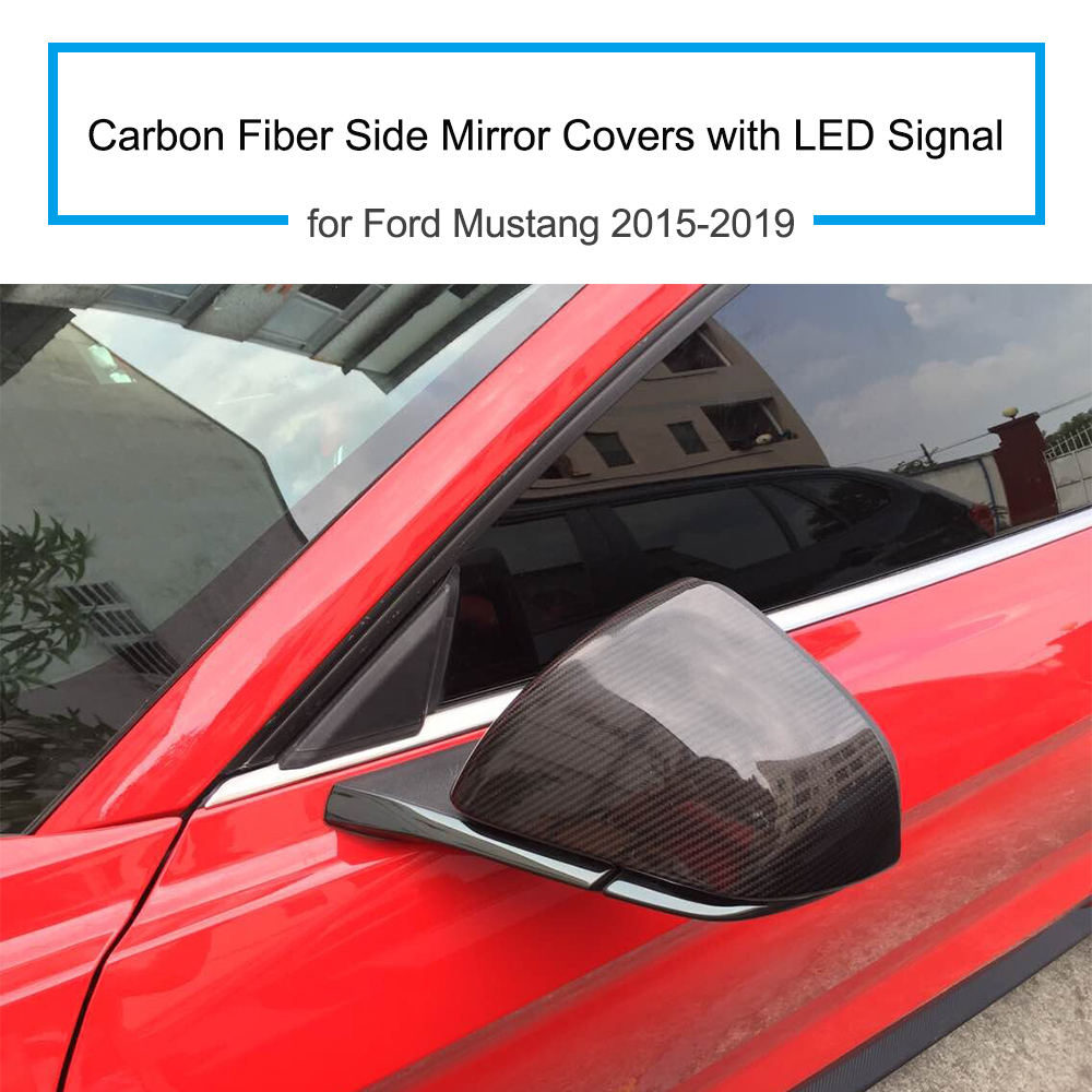 Carbon Fiber Side Mirror Covers For Ford Mustang 2015 2019 With Led Fuse Box Cover Signal1 Pair In From Automobiles Motorcycles On