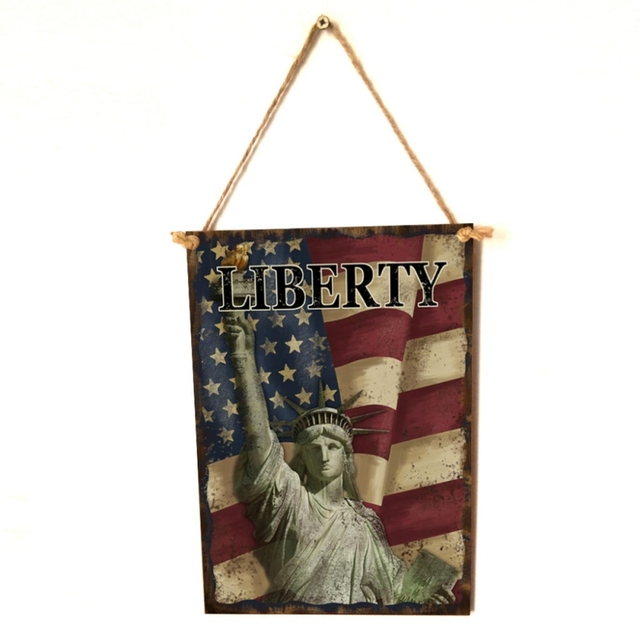 American Flag Styled Wooden Plaque
