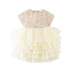 Image 2 - Boutique Tập Đi Bé Gái Phối Ren Trẻ Em Đầm Dạ Hội Cao Cấp Cho Bé 12M 6years Vải Tweed Gạc Đầm Trẻ Em Bánh Áo
