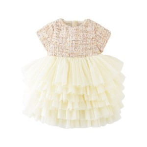 Image 2 - Boutique toddler girls lace dress children evening dress luxury baby 12M 6years tweed fabric gauze dress kids cake dresses