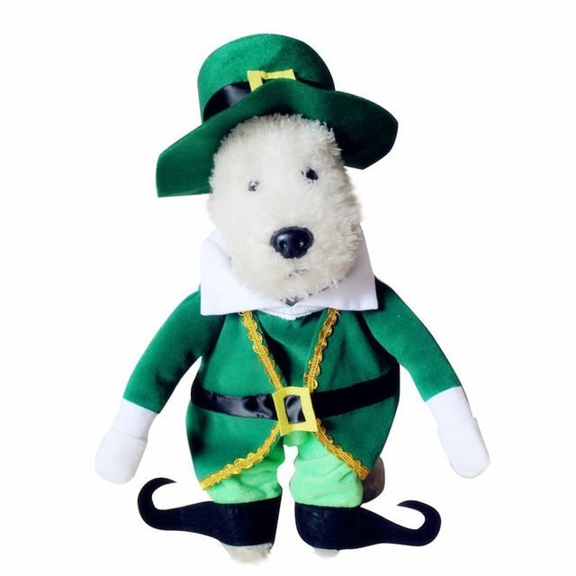 KKWL Dog Sets Pets Turned Into Funny Costumes Standing With Christmas Elf Prince Decoration Clothes Suit  Funny Outfit Standing