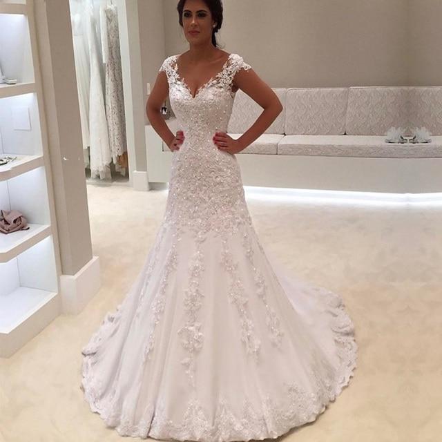 Robe de mariage סקסי V צוואר קצר שרוולי תחרת בת ים חתונת שמלת 2018 זול כלה שמלות תפור לפי מידה Vestido דה Noiva