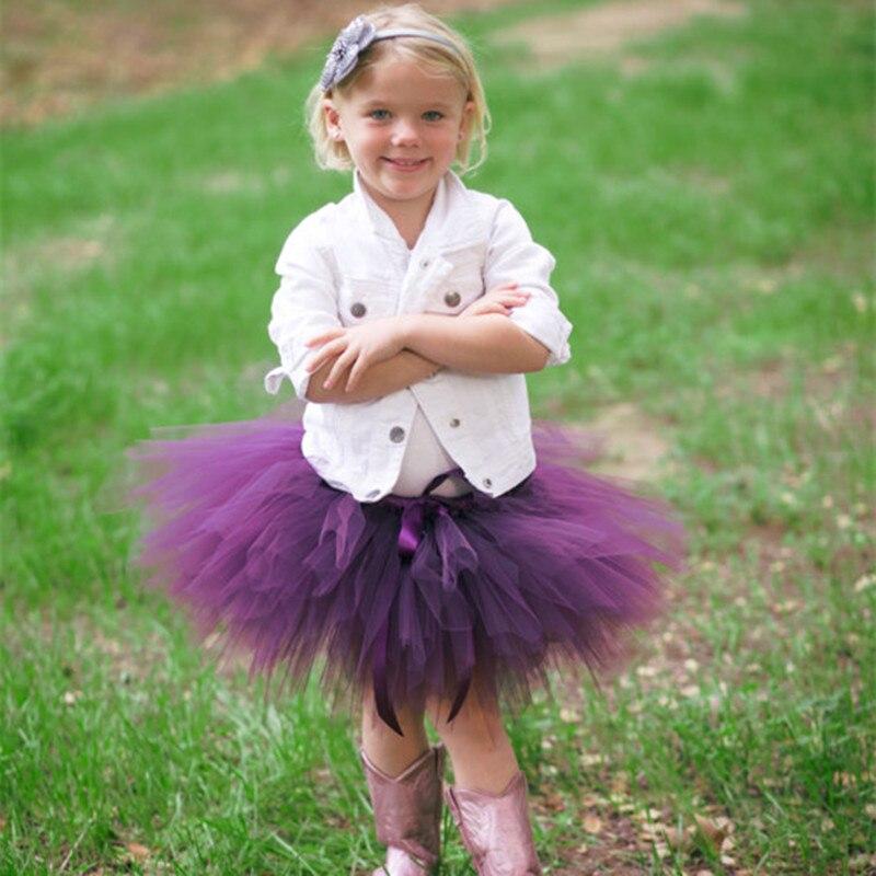 New Baby Kids Girls Tutu Skirt Cute Birthday Party Tutus Skirts Purple Gray Multicolor Fluffy Pettiskirt