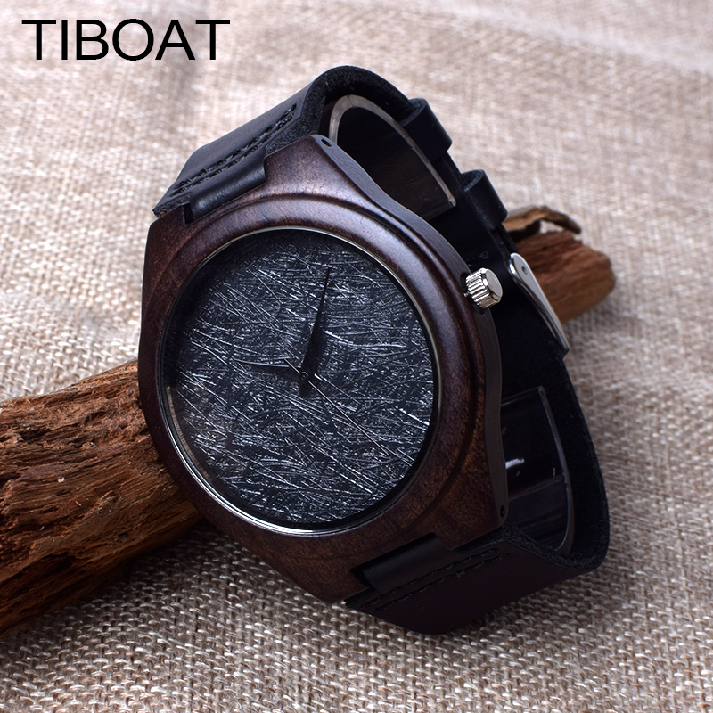 TIBOAT Fashion cool black Vintage Men's Luxury Wooden Watches Real Leather Quartz Wood Watch Relogio Masculino With Gift Box trendy cool style captain america shield case fob quartz pocket watch black dia with steel chain necklace christmas gift