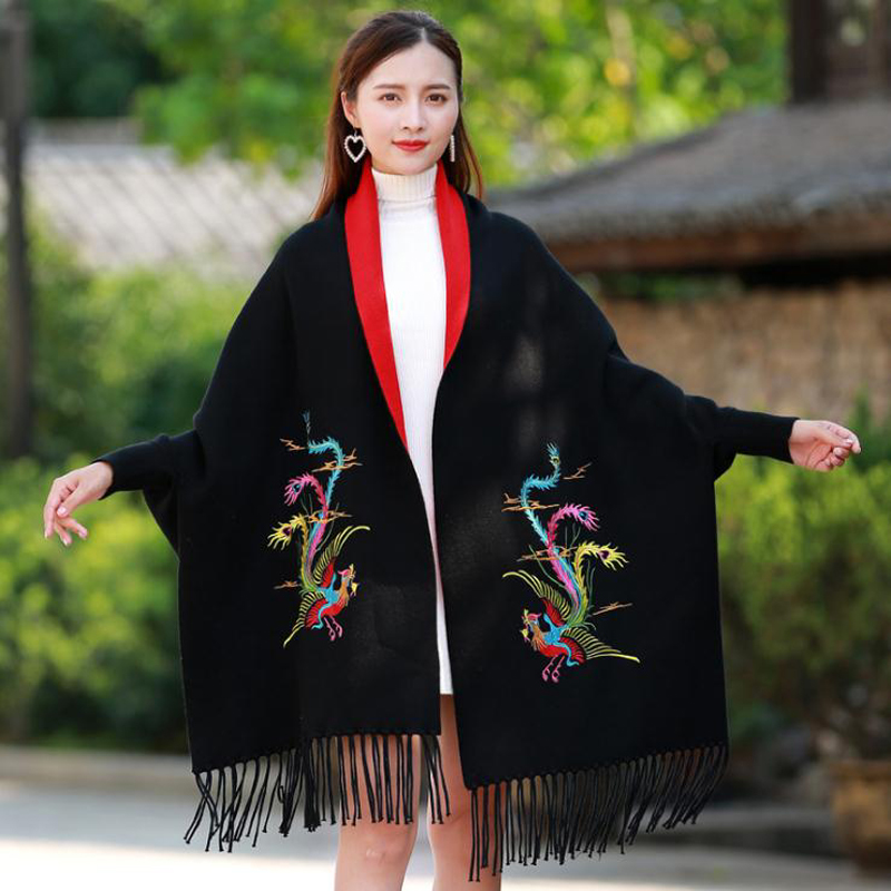 Chinese Women Winter New Shawl With Sleeve Poncho All-Match   Scarf     Wrap   Thick Warm Tassels Cloke Women's Double Phoenix Cape
