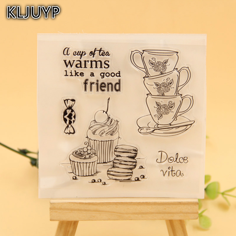 KLJUYP A Cup Of Tea Transparent Clear Silicone Stamp Seal for DIY scrapbooking photo album