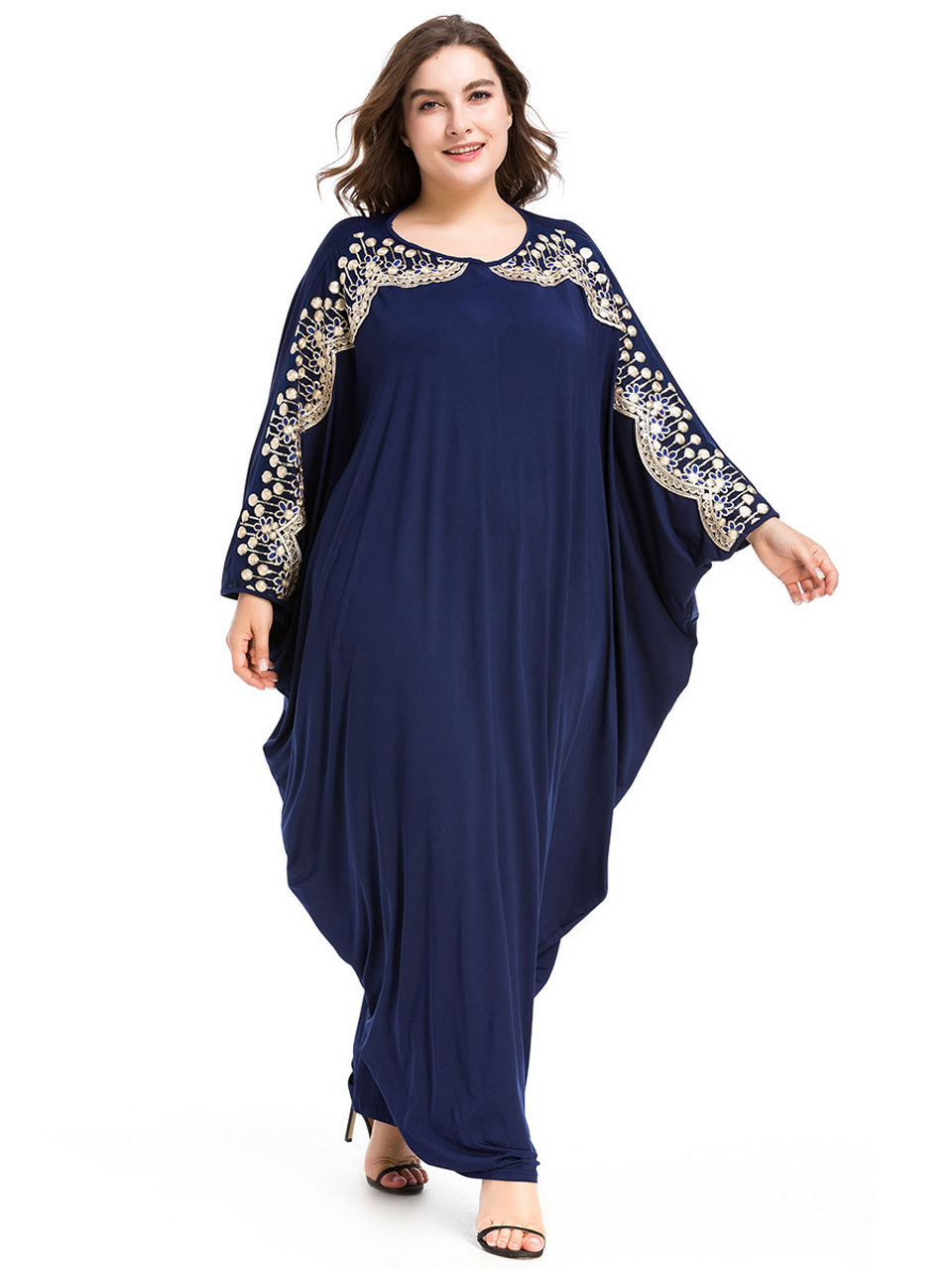Loose large size women's dresses muslim abaya dress dubai bat sleeves islamic dress arabic kaftan plus size islamic clothing