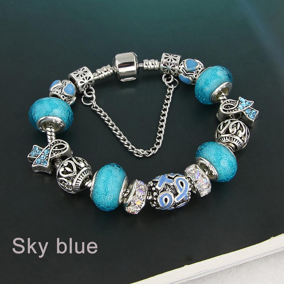 Glass Bead Charm Bracelet -  sky blue