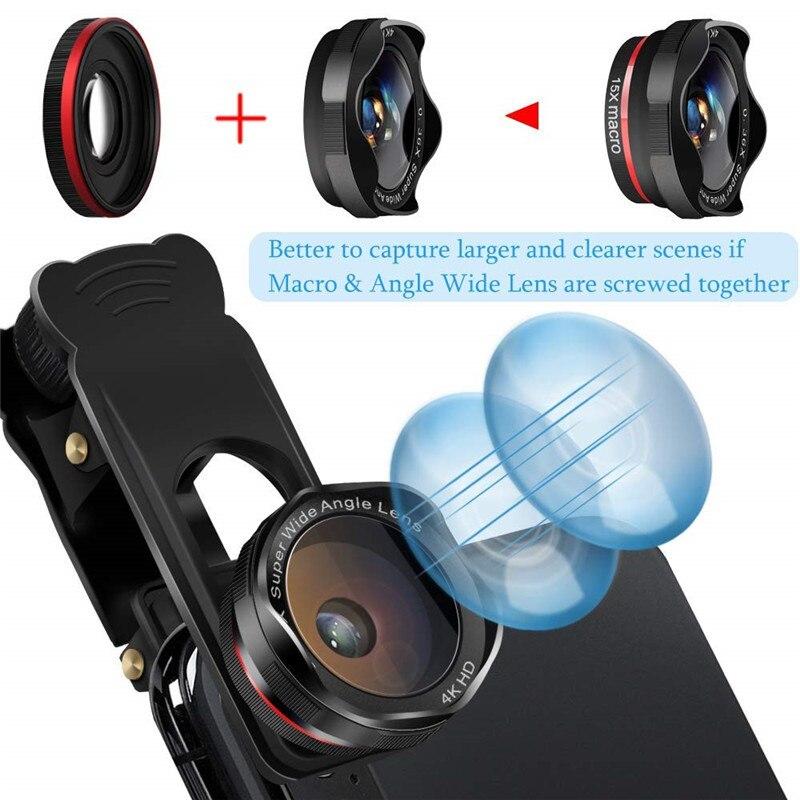 Mise à niveau des kits de caméra de téléphone DSLR Lent: Super Fisheye & 0.36X grand Angle & 15X Macro objectif (2 objectifs) & 12X Zoom téléobjectif pour Android - 5