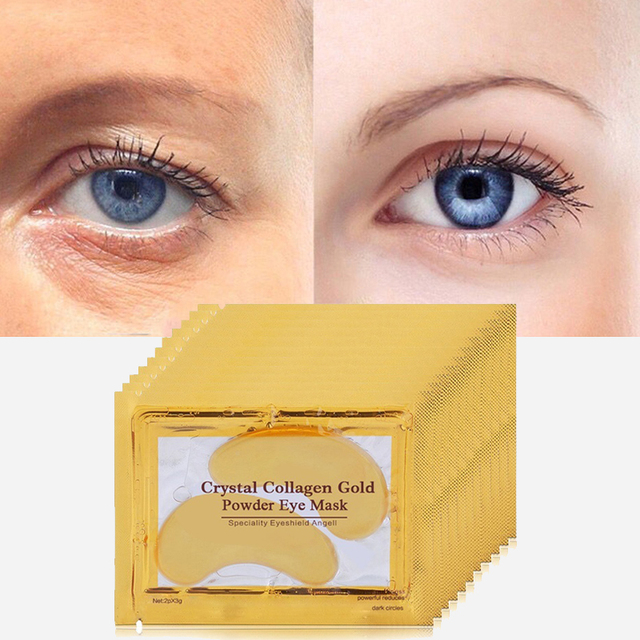 20pcs=10packs Gold Eye Masks Crystal Collagen Eye Mask Eye Patches for Eye Ageless Anti-Wrinkle Remove Black EyeCare Face Masks