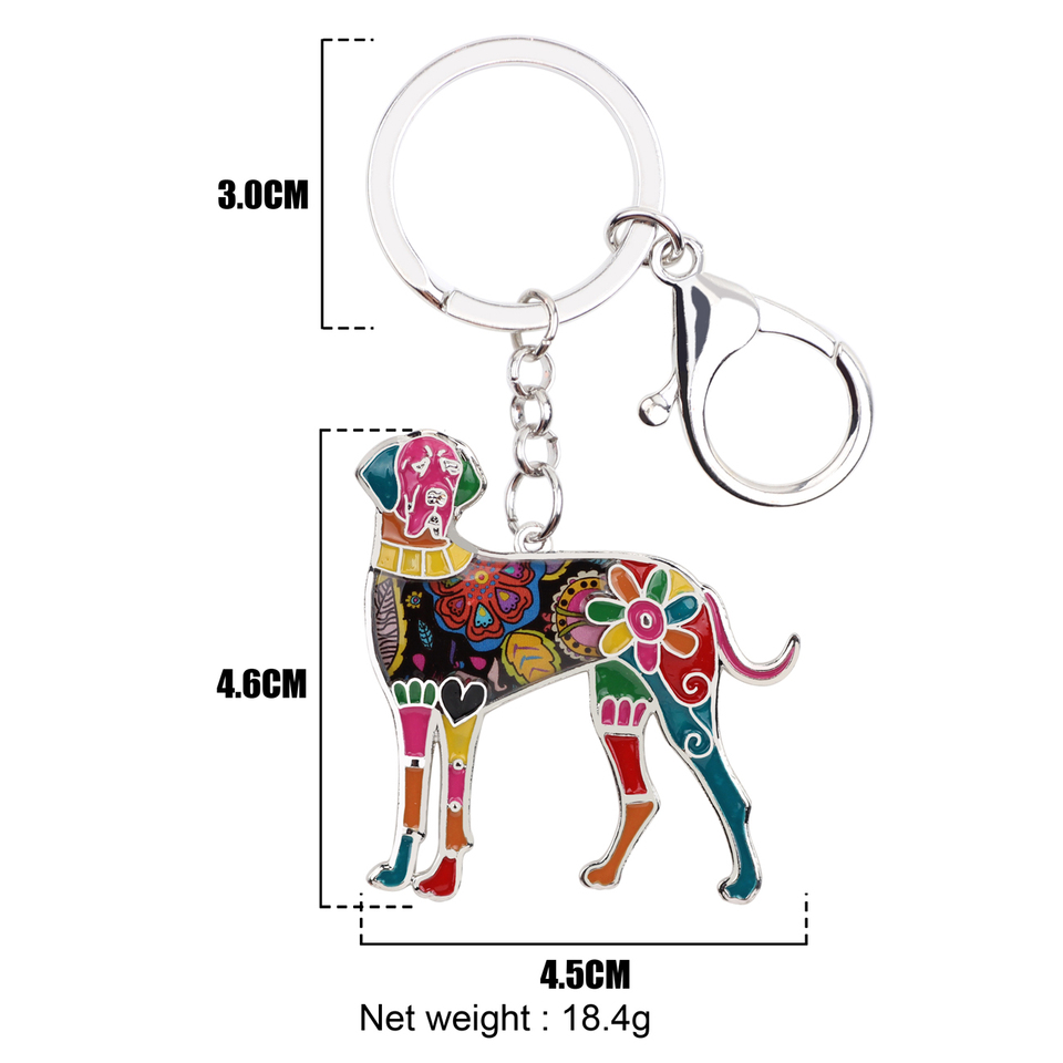 Colorful Enamel Great Dane Dog Keychain