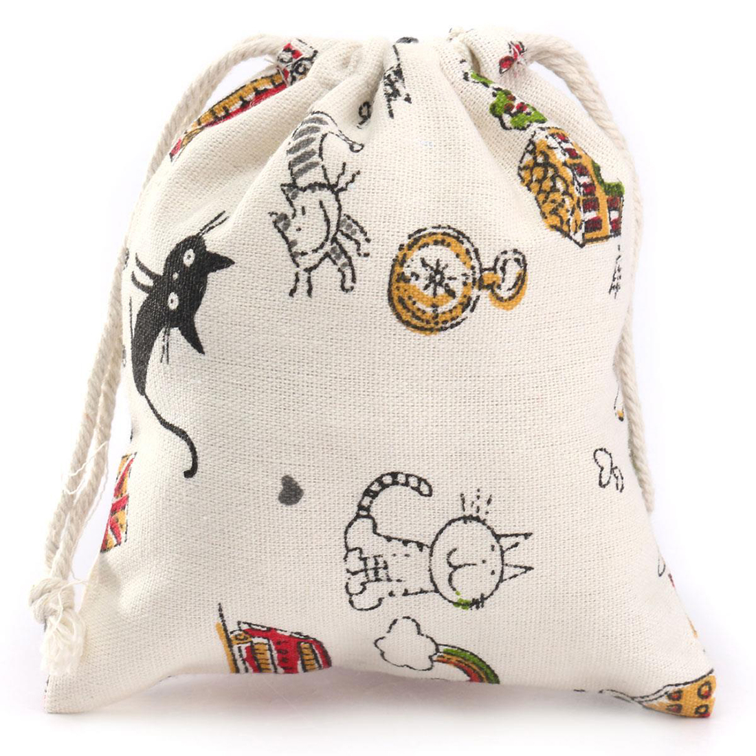 Storage Cotton Linen Cartoon Cat- Style Bags Drawstring Sack Tea Gift Bag Small Beam Rope Pouches Home Decor Handbags 14*16cm