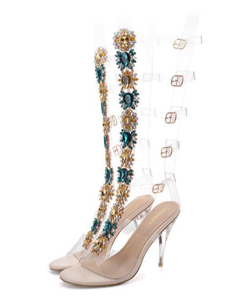 Lujo Dama Personalizado Sandalias De Diamantes Diamante Alto Flor Botas Transparente Tamaño Imitación Tacón Verano Fq4Udd