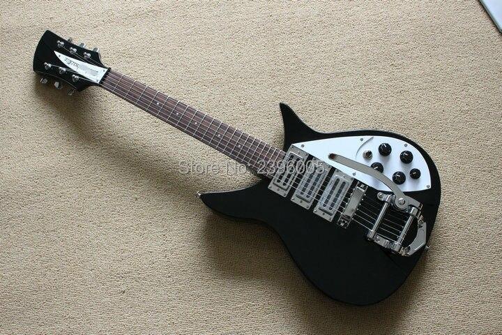 Custom shop vente chaude classique Ricken 325''63 noir couleur corée matériel 3 cire humbucker micros backer Adolph électrique guitare