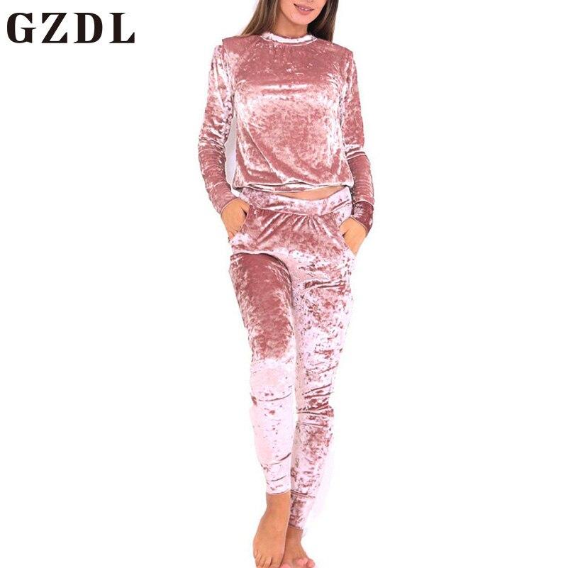 GZDL Mujeres Terciopelo de La Manera Del Cuello de O Sólido Tops Blusas Largas S