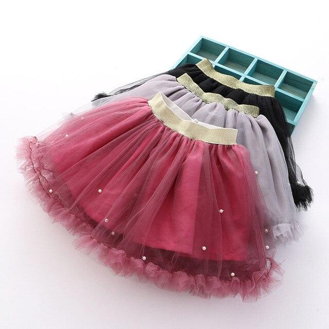 2017 spring children baby skirts for girls tulle tutu skirt Korean Beading cute princess skirt gray black wine red 3-8 year olds