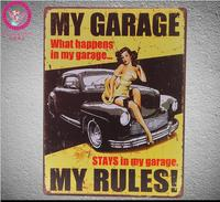 Big Tin Signs MY GARAGE Design Wall Sticker Large Metal Painting Tin Signs Painting Big Wall