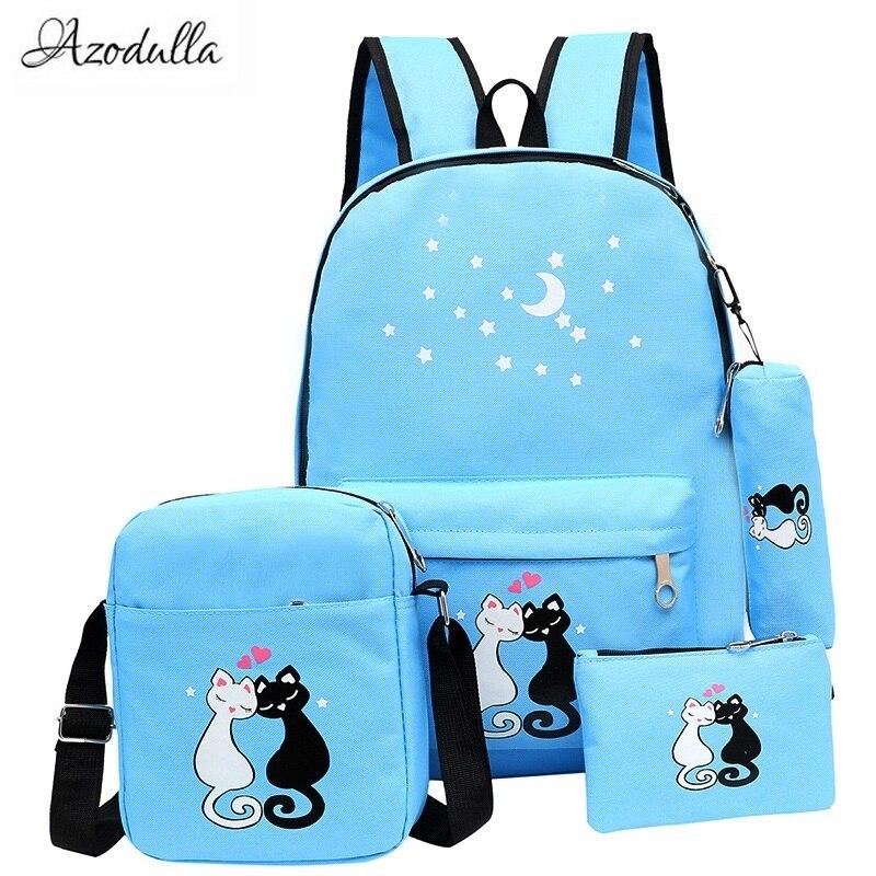 M060 New Lovely Stars Cat Print Backpack For Teenager School Bag Unisex Korean Rucksack Girl Shoulder Bag School Backpack 4 Set 6ri100e 060