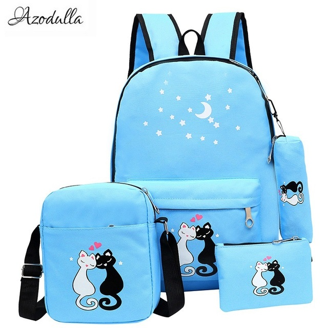 6760e688116f M060 Новый прекрасный звезды кошка рюкзак с принтом для подростков школьная  сумка унисекс корейский рюкзак девушка
