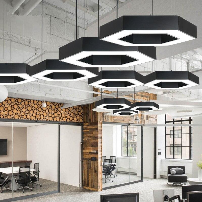 Lampe de LED commerciale de bureau d'hexagone de combinaison libre créative moderne de grande géométrie de 80CM de pendentif LED de Style industriel