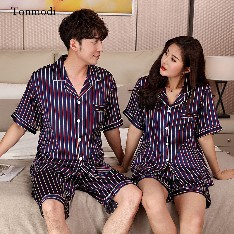 10bf3e2cd2e7 Pajamas For Women Silk Sleepwear summer Couples Matching Pajamas Stripe  Women s lounge Pajama Sets Lovers Mens pajamas