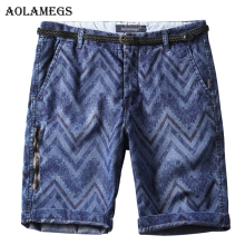 Aolamegs Men Denim Shorts Plaid Men's Jeans Shorts Male Cotton Casual Slim Cowboy Bottoms Washed Beach Knee-Length Clothing