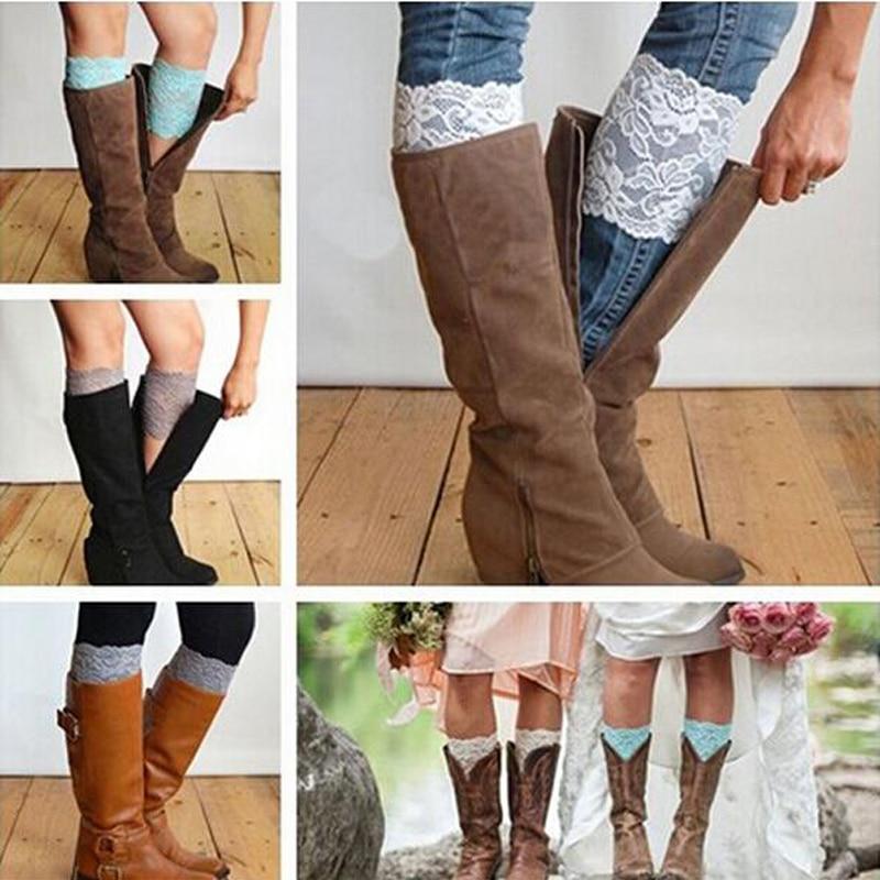 Free Shipping Stretch Lace Boot Cuffs Women GIRLS LEG WARMERS Trim Flower Design Boot Socks Knee 8pcs/lot