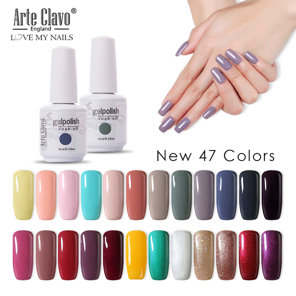 Seni Clavo Vernis Semi Permanant UV LED Gel Cat Kuku 47 Warna Kuku Gel Polandia Tahan Lama Rendam Off beruntung Set Gel Varnish