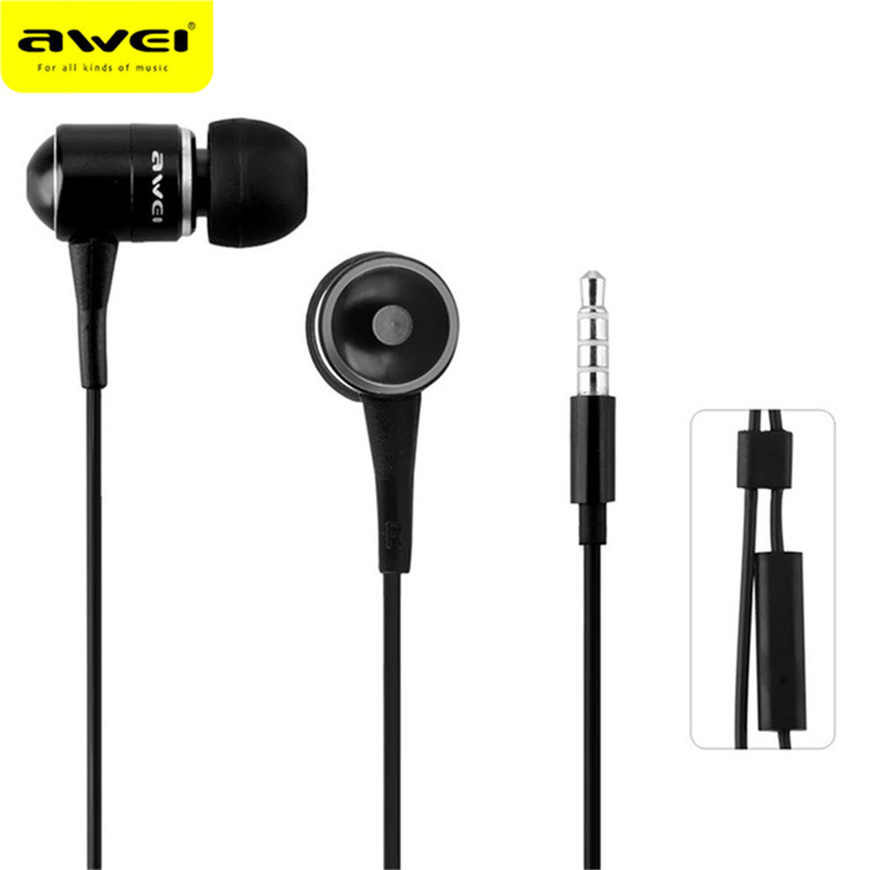 awei q6i super bass in ear earphone w mic yellow purple 3 5mm plug Original Brand Awei ES Q3i Super Bass 3.5mm Jack Noise Isolation In-ear Style Earphone for MP3/MP4 Players Headset