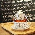 Термостойкий стеклянный керамический костяной китайский заварочный чайник с фильтром чайный набор с парижским узором 1 горшок + 1 чашка + 1 б...